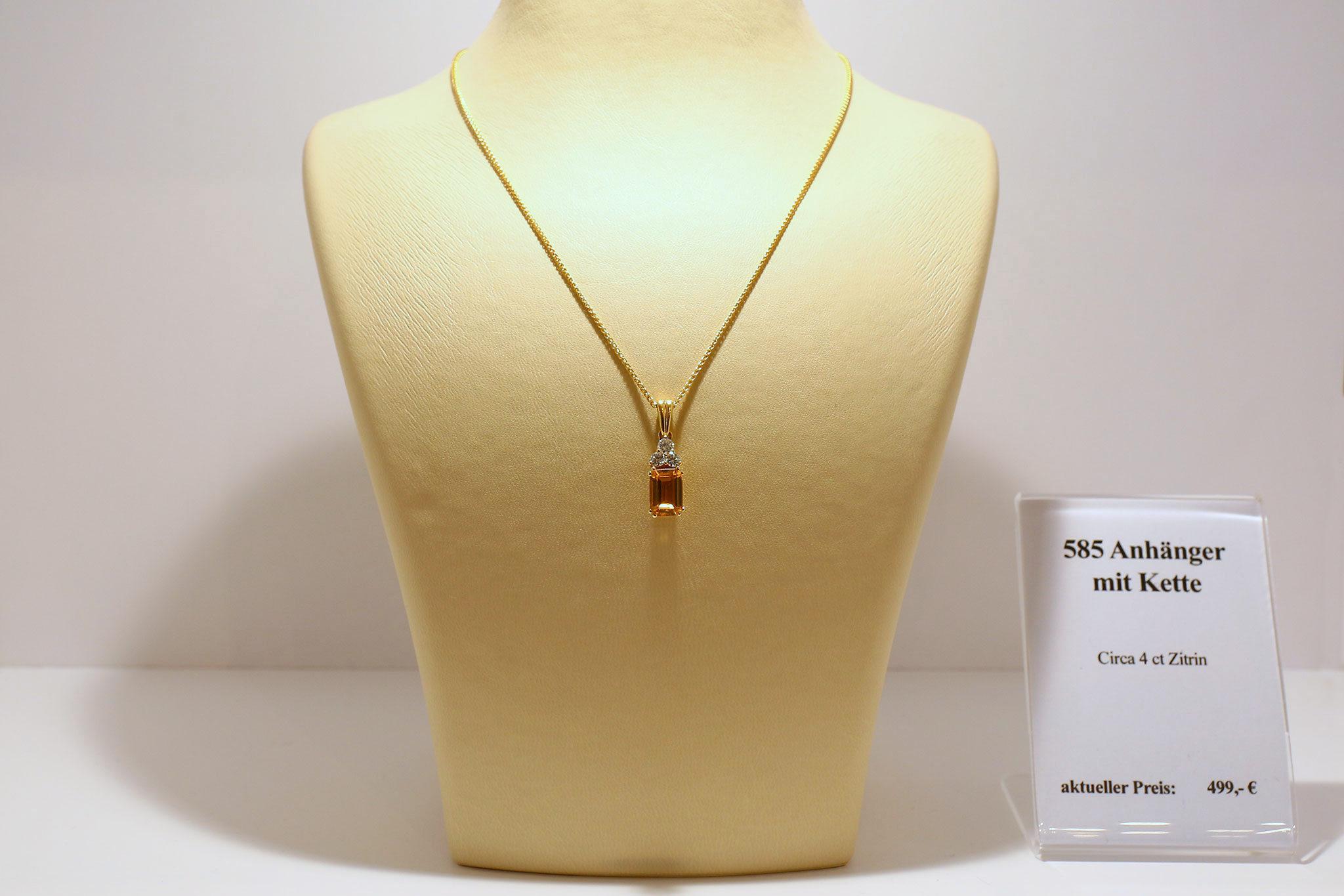 Goldkette 585 mit Zitrin